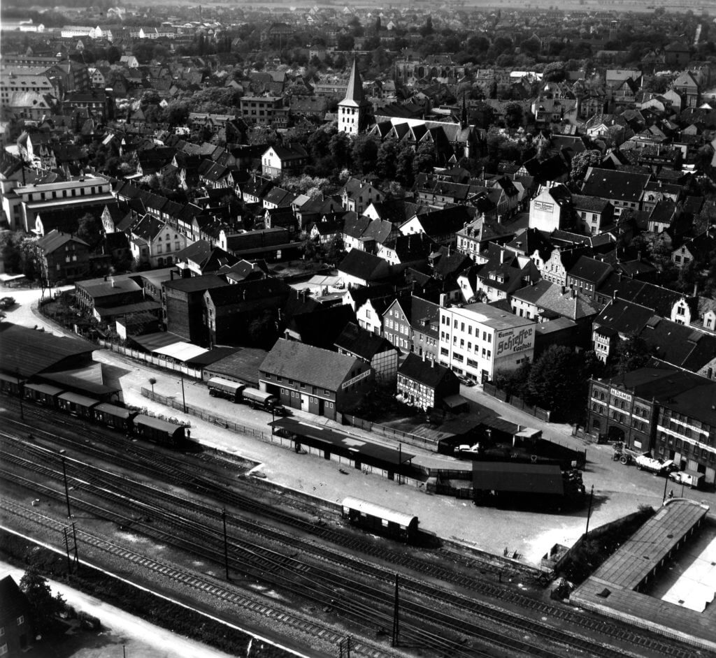 Luftaufnahmen Güterbahnhof und Umgebung, datiert vor 1939