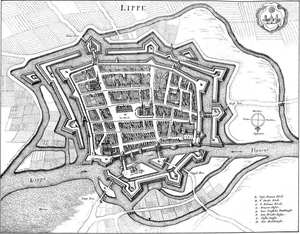 Historische Zeichnung zur Festungsanlage Lippstadt
