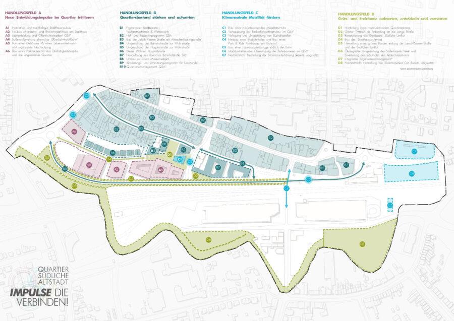 Plan - städtebauliches Entwicklungskonzept (ISEK) für den gesamten Quartiersbereich